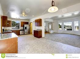 house with open floor plan empty living and kitchen room stock