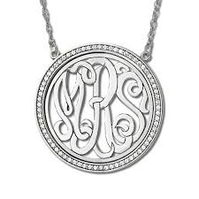 monogram initials necklace initial necklace with diamond accents sterling silver 0 34ct