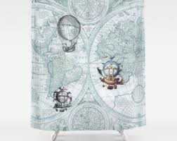 steampunk style shower curtain air balloons vintage