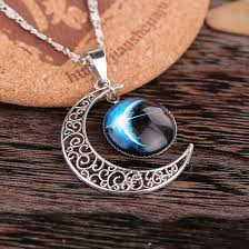 aliexpress crystal necklace images Handmade silver crescent moon moonstone retro charm crystal jpg