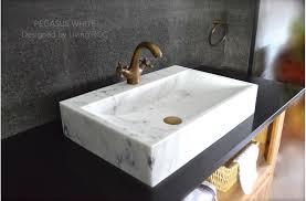 White Marble Basin Bathroom Sink Faucet Hole PEGASUS WHITE - Basin bathroom sinks