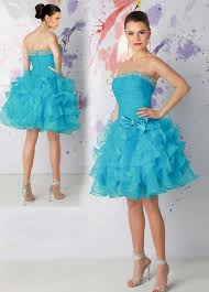 blue strapless short organza prom dress