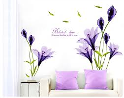 Purple Lillies Aliexpress Com Buy Beautiful Flowers Purple Lilies Wall Stickers