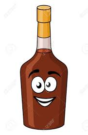 cartoon beer bottle cartoon bottle of alcohol or liqueur with a gold seal and brown