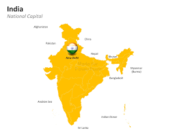 India Blank Outline Map by Powerpoint Map Of India India States And Districts Are Easy To Edit