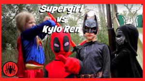Real Life Halloween Costumes Little Supergirl Vs Kylo Ren In Real Life Batman U0026 Deadpool On