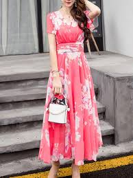 v neck ruffle sleeve floral hollow out chiffon maxi dress