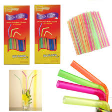 100 neon straw flexible bendable birthday kids party drinks