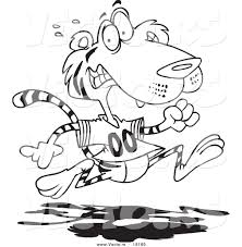 tiger coloring book pages vector of a cartoon retreating tiger outlined coloring page by