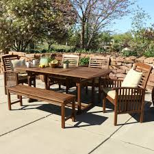Acacia Wood Outdoor Furniture Durability by Walker Edison 6 Piece Acacia Wood Patio Dining Set With Cushions
