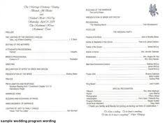 Sample Of Wedding Programs Ceremony Wedding Program Ideas Wedding Programs Wedding Program Wording