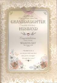 wedding greeting card verses granddaughter and husband on your wedding day wedding card