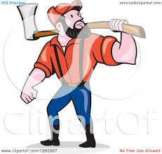 clipart of a cartoon male paul bunyan lumberjack carrying an axe