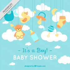 or baby shower lines background with baby shower items vector free