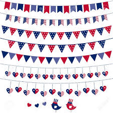 Banners Flags Pennants American Flag Themed Bunting Set Royalty Free Cliparts Vectors