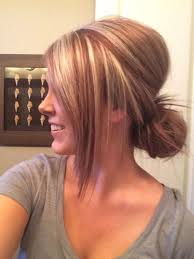 brunette hairstyle with lots of hilights for over 50 red and blonde highlight lowlight hair by kristine norris lob