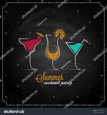 cocktail summer party chalk design menu stock vector 195150755