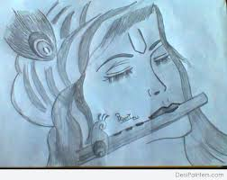 shri krishna pencil sketch desipainters com