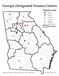 Atlanta Ga Map Designated Trauma Centers U2013 Georgia Trauma Commission