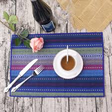 large plastic table mats 4pcs set cotton placemat for table heat insulation dining table blue