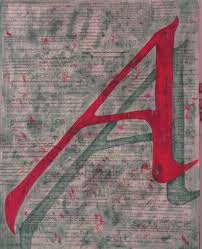 scarlet letter with green background painting by mary vandenberg