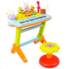 kids musical electronic keyboard piano organ microphone stool