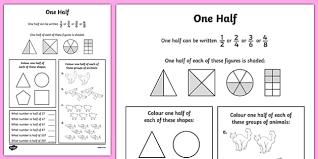 fractions halves activity sheet numeracy maths half