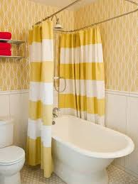 small bathroom makeovers with stripe shower curtains and wallpaper