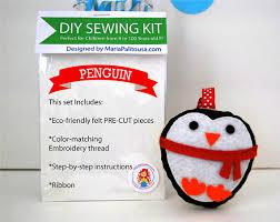 penguin sewing kit ornament felt sewing kit