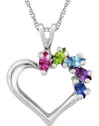 Personalized Heart Necklace Personalized Marquise Gemstone Heart Necklace In White Gold