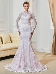 pink wedding dress ericdress fancy lace mermaid sleeves pink wedding dress