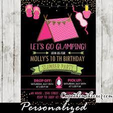 sleepover cing birthday invitations gling slumber
