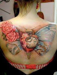 latest 3d clock with beautiful rose tattoo on upper back