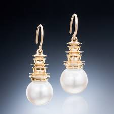 pagoda earrings the big pagoda gold pearl earrings christopher duquet jewelry