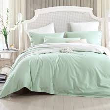 Green Double Duvet Cover Combed Cotton 300 Thread Count Mixed Color Frost Green Light Khaki