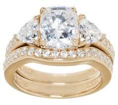 qvc wedding bands diamonique 2 95 cttw 100 facet 2 pc bridal ring set 14k clad