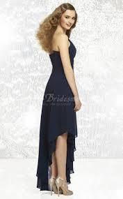 dark navy chiffon a line one shoulder high low bridesmaid dresses