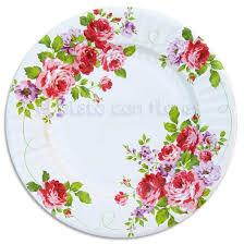 imagenes de rosas vintage platos desechables elegantes para fiestas bonitas decorados con