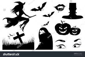 vector halloween halloween silhouette icons collection different black stock vector