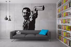 angry with gun in designed wall stickers home special