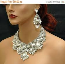 crystal choker necklace set images Crystal statement wedding necklace bridal crystal choker necklace jpg