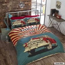 British Flag Bedding Route 66 Retro Garage Vintage Car With Usa Flag Reverse Duvet