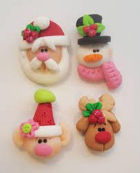 mini mix set santas elf rudolph snowman polymer clay charm bead
