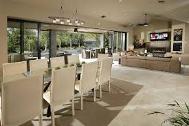 Vaulted Ceiling Open Floor Plans Dishy Open Plan Kitchen Lounge Dining Room Contemporary With