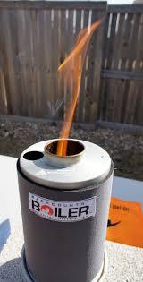 the backcountry boiler by the boilerwerks burning little sticks