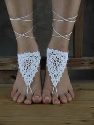 white crochet barefoot sandals shoes foot jewelry bridesmaid