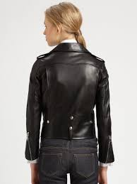 motorcycle coats saint laurent leather motorcycle jacket in black lyst