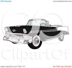 cartoon convertible car clipart of a cartoon black and white 1956 chevrolet bel air