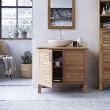 solid teak wood vanity cabinet washstand simple warm design new