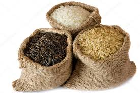 small burlap bags uncooked rice in small burlap sacks stock photo airborne 34487371